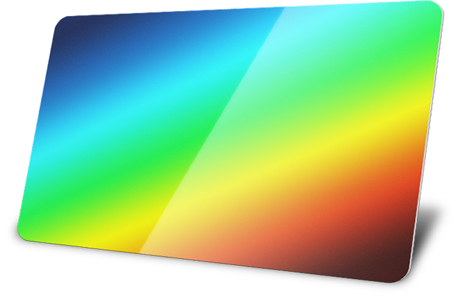 plastic card with rainbow coating simulation